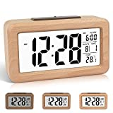 DTKID Réveil numérique en Bois à réglage Facile avec température, Date,...