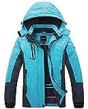 Wantdo Women's Mountain Waterproof Fleece Ski Jacket Windproof Rain Jacket, XX-Large, Blue