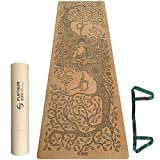 Platinum Sun Extra Large Non-Slip Cork Yoga Mat with Designs, with Carry Strap & Luxury Gift Box -...