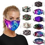 Bumplebee 10 Stück Bandana Mundschutz Waschbar Bunt Herren Damen Atmungsaktiv Sport Halstuch 3D Drucken Mund-Nasen-Masken Mehrweg Mund und Nasenschutz