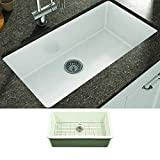 Empire Industries YU32 Yorkshire Undermount Fireclay Single Bowl Kitchen Sink with Grid and Strainer, White