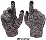 Achiou Winter Knit Gloves Touchscreen Warm Thermal Soft Wool Lining Elastic Cuff Texting Anti-Slip 3 Size Choice for Women Men (Black & White Thick, Medium)