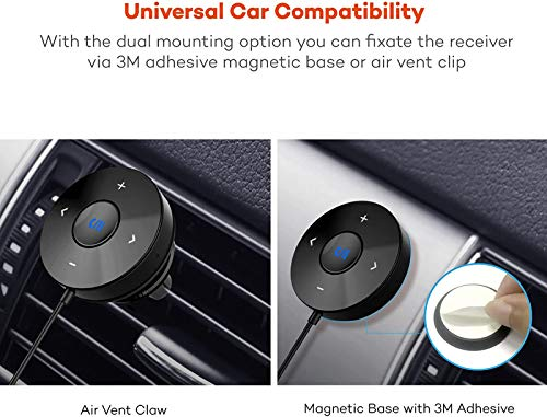 Product Image 1: TaoTronics Bluetooth Car Kit, Bluetooth Receiver, Bluetooth 4.2 Hands-Free Audio Adapter (Built-in Microphone, CVC 6.0 Noise Cancellation, 3M Magnetic Base, Air Vent Clip, Dual 2.1A USB Car Charger)