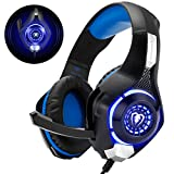 Beexcellent Gaming Headset für PS4 PC Xbox One, LED Licht Crystal Clarity Sound Professional Kopfhörer mit Mikrofon für Laptop Mac Handy Tablet Blau