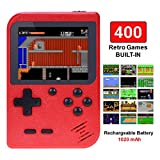 TAPDRA Handheld Game Console, Retro Game Console with 400 Classic Games 3.0 inch Screen Portable Game Console, Good Gifts for Kids, Xmas Gift (Red)