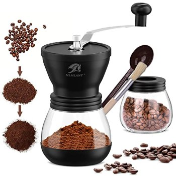 MLMLANT Moulin à café Manuel | Moulin à céramique de grossièreté réglable | Moulin à café à Main | Manivelle compacte pour la Maison, Le Bureau et amp; en voyageant