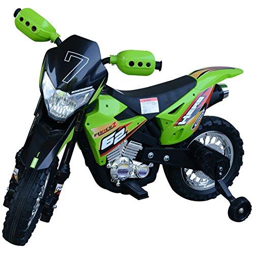 HOMCOM Motocross électrique 35 W Enfant 3 à 6 Ans dim. 109L x 52,5l x 70,5H cm roulettes Amovibles Vert