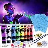 Lictin 43Pcs Pintura Corporal Pintura Arte Corporal UV Luz Negra Fosforescente...
