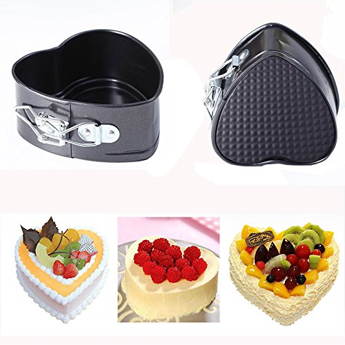 Fenleo Mini Cake Pan, 4 Inches Nonstick Springform Pan Leakproof Mini Cake Pan Heart Shape Cheesecake Pan Baking Tools with Removable Smooth Bottom and Quick-Release Latch