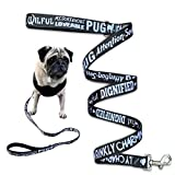 DEZAL Pug Dog Leash 4.3ft – Anti-Twist Dog Walking Leash for Pug Owners with Neoprene Padded Handle - Dog Walking Training and Lead Control - 3/4 x 51 inch (Black)