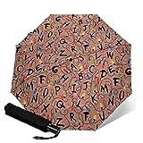 Strange Christmas Things - Paraguas plegable automático de tres pliegues, ligero, para sol y lluvia