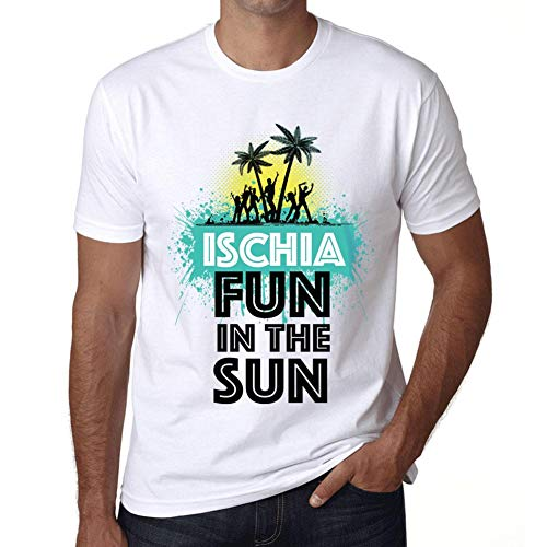 Cityone Uomo Maglietta Tee Vintage T Shirt Summer Dance Ischia Bianco