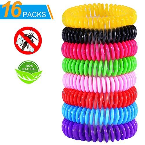 Frokito Lot de 16 Bracelets Anti-moustiques naturels sans DEET pour...