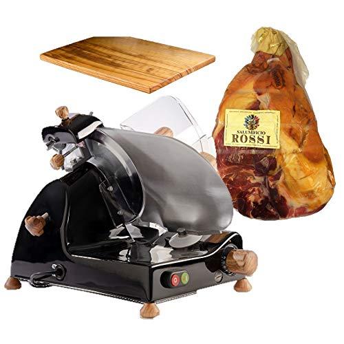 FAC - Special Bundle - Affettatrice Curvy C220 kit legno ulivo - Nero + Prosciutto Crudo di Parma 24 mesi intero incluso nel prezzo