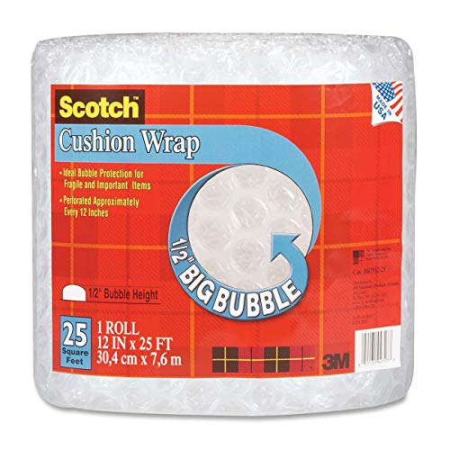 Scotch Big Bubble Cushion Wrap, 12 in x 25 ft., 1 Roll/Pack (BB7912-25-ESF)