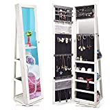 TWING Jewelry Organizer Jewelry Cabinet 360 Rotating, Lockable Standing Wall Jewelry Armoire with Full Length Mirror Large Jewelry Armoire Cabinet(White with Wood Grain)