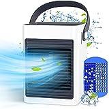 Mini Condizionatore Portatile, KOXXBSSA USB Personale Air Cooler, 3 in 1 Mini Raffreddatore D'aria per Casa Ufficio, LED Luce, 3 velocità