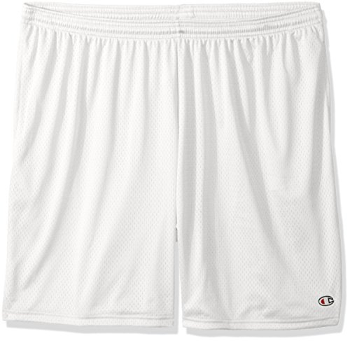 Champion Men's Long Mesh Short with Pockets,White,X-Large