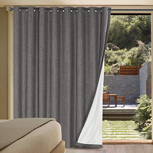 H.VERSAILTEX Linen Blackout Curtains Durable Thick Textured Linen Look 100% Blackout Patio Door Curtain Anti Rust Grommet Extra Wide Sliding Door Curtain Panel, W100 x L84 inch - Grey