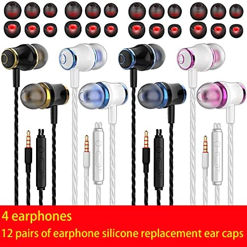 4 Pairs Headphone Heavy Bass Stereo Earphones Earbuds with Remote & Microphon,Laptops,Gaming Noise Isolating Tangle Free Headsets in Ear Headphones 13