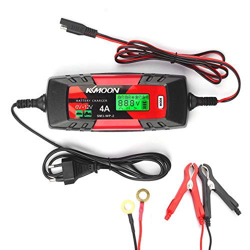 Car Battery Charger Battery Charger & Maintainer 6V/12V 4Amp Intelligent Automatic Battery Charger with LCD Screen Pulse Repair Charger for Cars Motorcycles Boat and More EU Plug