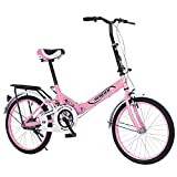 LYBOHO 20in Foldable Bicycle for Adult, Folding City Bike with Back Seat Aluminum Frame Bicycles Adult Students Ultra-Light Portable Women's City Mountain Cycling [Fast Delivery from The U.S.]