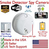 SecureGuard Wall Mount 60 Day Battery Powered WiFi Smoke Detector Fire Alarm Spy Camera (60 Day Battery, 16GB SD, Wall Mount First Alert Model)
