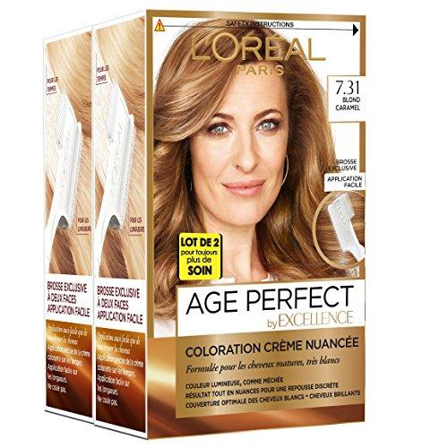 L'Oréal Paris -  Excellence Age Perfect - Coloration Permanente Cheveux Matures & Très Blancs - Nuance  7,31 Blond Caramel - Lot de 2