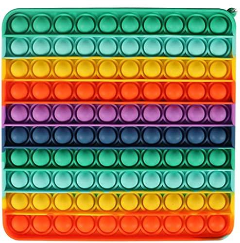 CRAZYCHIC - Pop It Gigante Fidget Toy - Popit Grande Push Bubble Giocattolo Bambini Adulti - Gioco Antistress Rilassante Multicolore - Poppit Color Arcobaleno Ragazza Ragazzo - Quadrato