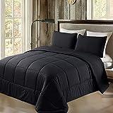 Exclusivo Mezcla Lightweight Reversible 3-Piece Comforter Set for All Seasons, Down Alternative Comforter with 2 Pillow Shams, King Size, Black