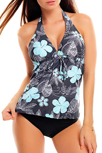 Octopus Trendiger Push Up Tankini/Slip/Neckholder/Bandeau/Cut Out/Verschiedene Prints f3409 Farbe: 1047S6 Grau mit Blumen, Slip Schwarz, Gr. 44