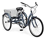 Schwinn Meridian Adult Tricycle with 24-Inch Wheels in Slate Blue, with Low Step-Through Aluminum Frame, Front and Rear Fenders, Adjustable Handlebars, Large Cruiser Seat, and Rear Folding Basket