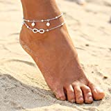 Jeweky Boho Double Ankle Bracelets Silver 8 Shape Anklets Chain Pearl Beach Foot Jewelry for Women and Girls