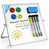 Small Dry Erase White Board- Magnetic Desktop Whiteboard 10'X10' with Stand, 4 Markers, 4 Magnets &...