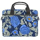 Blue Beautiful Rose - Bolsa para portátil de 13,4 a 14 pulgadas, multifuncional, maletín portátil, correa ajustable para el hombro
