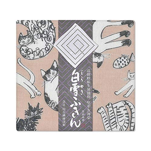 白雪 ふきん 日本製 猫柄 塩素系漂白剤可 しなやかな触感 みゃうみゃうみゃう ベージュ