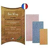 Halton PSC Le Bee Wrap Made in France   Lot de 3 Emballages Cire d'Abeille   Emballage Alimentaire écologique et Réutilisable   100% Bio et Naturel