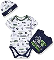Includes one officially licensed Seattle Seahawks short sleeve Bodysuit, cap, and bib Cotton/polyester blend Interlock Seahawks logo with screen print with woven label