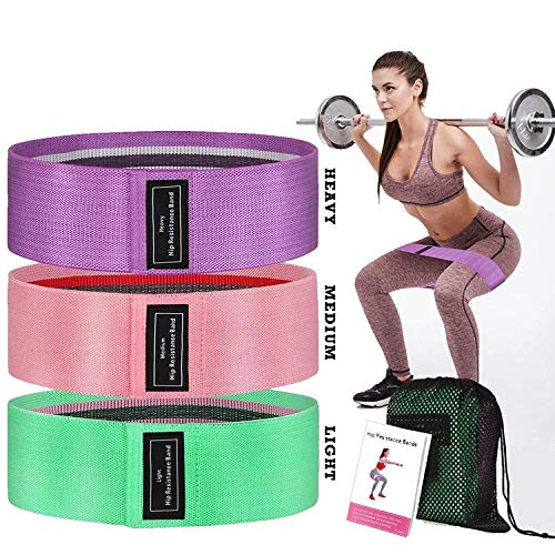FITLETHIC Resistance Hip Loop Bands, Fabric Exercise Bands for Men/Women-Anti Slip Booty Bands for Leg, Glutes, Hip, Squats, Gym Workout, Fitness (Green + Pink + Purple)