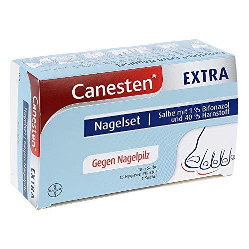 CANESTEN ExtraNagelset zur Behandlung von Nagelpilz mit Salbe, 15 Hygiene-Pflastern und Spatel, 180 g
