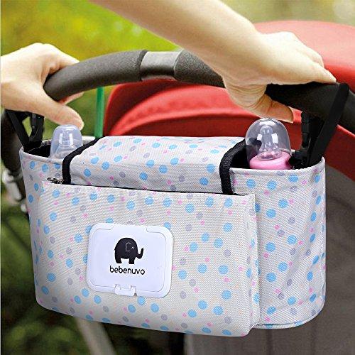 Kinderwagen Organizer, Universale Baby Kinderwagentasche mit Reißverschluss, Unverzichtbares Kinderwagen-Zubehör Aufbewahrungstasche. (Blauer Punkt)