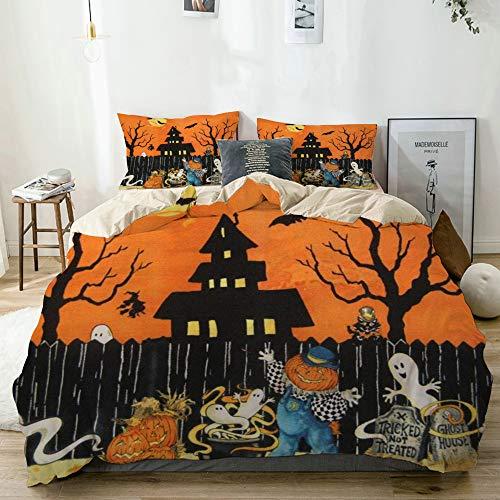 ECOMAOMI Bedding Duvet Cover Set King,Halloween Ghost & Pumpkins,Bedroom 3pcs Luxury Microfiber Down Comforter Quilt Bedspread Cover Sets,Zipper Closure with 2 Pillow Shams