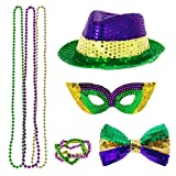 Timi&Hebe Mardi Gras Accessory Set Party Favors with 3 Beads Necklaces, Sequin Fedora Hat, Mardi Gras Mask, Sequin Bow Tie and beads, bracelet in 3 Colors (Green, Purple, Yellow)
