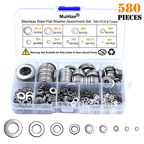 Muhize 304 Stainless Steel Flat Washers 580 PCS Washers Assortment Kit (9 Sizes, M2 M2.5 M3 M4 M5 M6 M8 M10 M12)