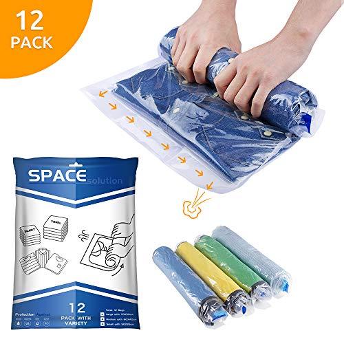 SPACE solution 12 Pcs Sacs de Rangement sous Vide,Sachets à Compression...