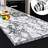 Yenhome Faux Peel and Stick Countertops 24' x 196' Landscape White Marble Wallpaper for Kitchen Backsplash Cabinets Cover Shelf Liner Peel and Stick Wallpaper for Bathroom Wall Decor Vinyl Film