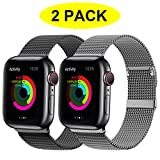 YC YANCH 2 Pack Compatible for Apple Watch Band 42mm 44mm, Adjustable Stainless Steel Mesh Metal Loop Replacement Band Compatible for iWatch Series 5/4/3/2/1 (Black, Space Grey)