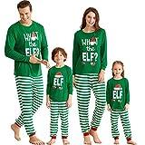 IFFEI Matching Family Christmas Pajamas Sets Holiday PJ's with ELF Printing Long Sleeve Tee and Striped Pants Loungewear Sleepwear Women: L