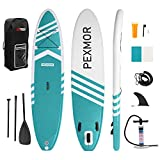 PEXMOR Inflatable Stand Up Paddle Board for Fishing Yoga Paddle Boarding with Premium SUP Accessories & Carry Bag, Surf Control, Non-Slip Deck | Youth & Adult Standing Boat 10'6' X 32' X 6' (Aqua)