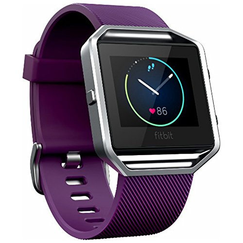 Fitbit Blaze Smart Fitness Watch Wireless Activity and Fitness Tracker with Heart Rate Monitor, Plum, Large (Max wrist size 8.1in) (Renewed)